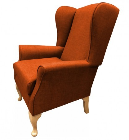 Empress Wingback Chair Linetta Burnt Orange Side View