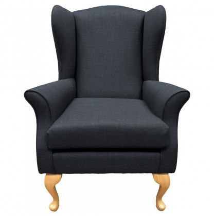 Empress Wingback Chair Linetta Charcoal Front View
