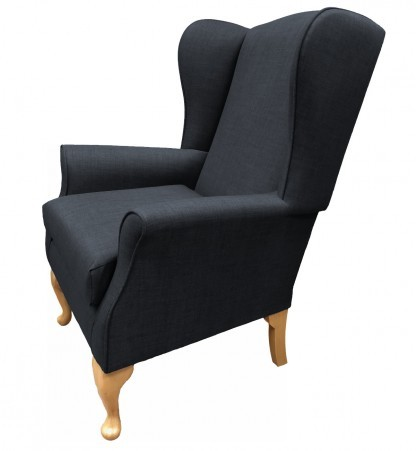 Empress Wingback Chair Linetta Charcoal Side View