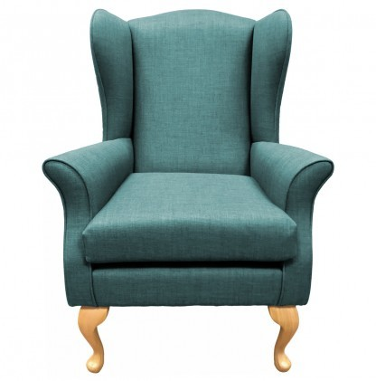 Empress Wingback Chair Linetta Duck Egg Front View