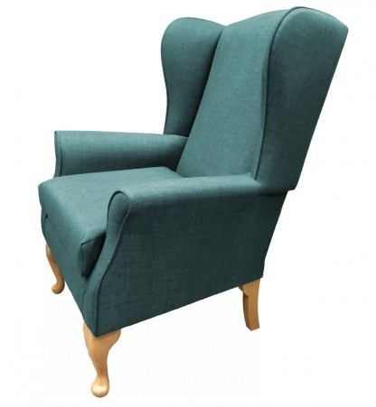Empress Wingback Chair Linetta Duck Egg Side View