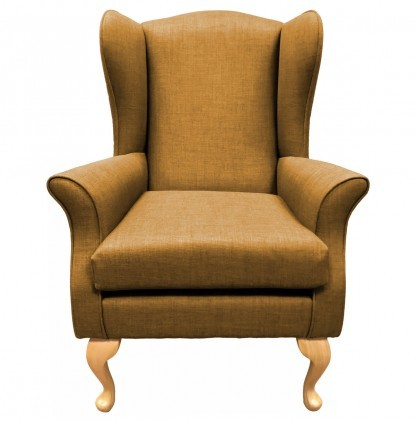 Empress Wingback Chair Linetta Gold Front View
