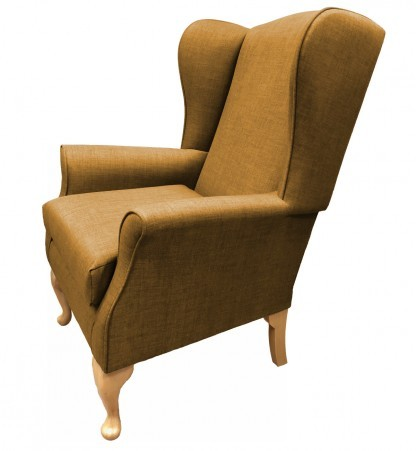 Empress Wingback Chair Linetta Gold Side View