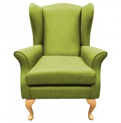 Empress Wingback Chair Linetta Lime Front View