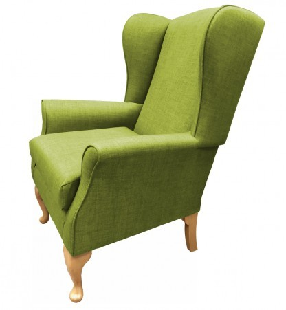 Empress Wingback Chair Linetta Lime Side View