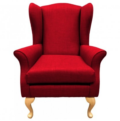 Empress Wingback Chair Linetta Red Front View