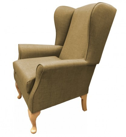 Empress Wingback Chair Linetta Sand Side View