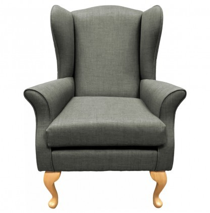 Empress Wingback Chair Linetta Slate Front View