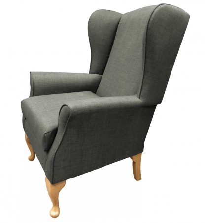 Empress Wingback Chair Linetta Slate Side View