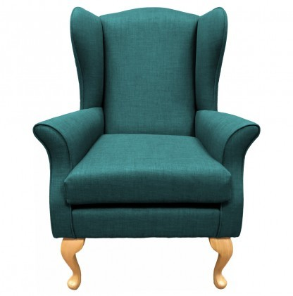 Empress Wingback Chair Linetta Teal Front View