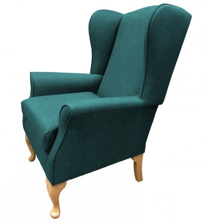 Empress Wingback Chair Linetta Teal Side View