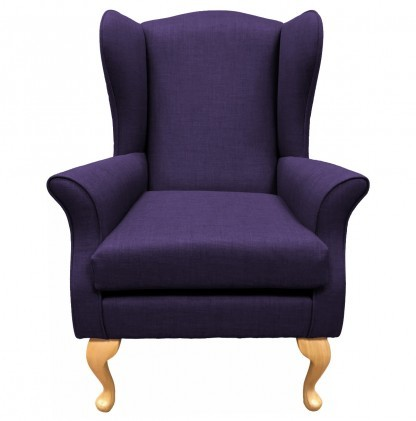 Empress Wingback Chair Linetta Violet Front View