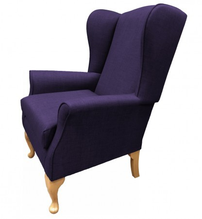 Empress Wingback Chair Linetta Violet Side View