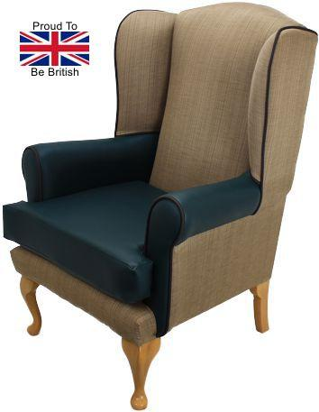 Queen Anne Juno With Black Faux Leather High Seat Chair