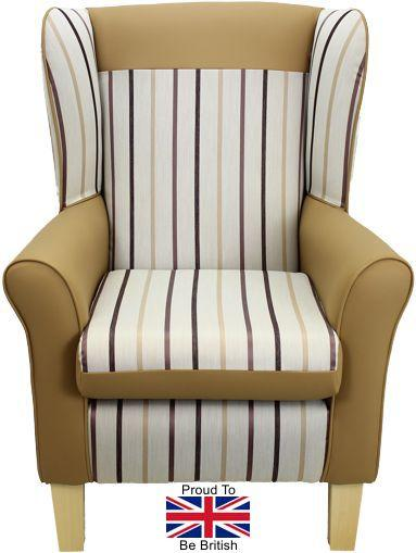 York Brown Stripe Orthopedic High Back Chair