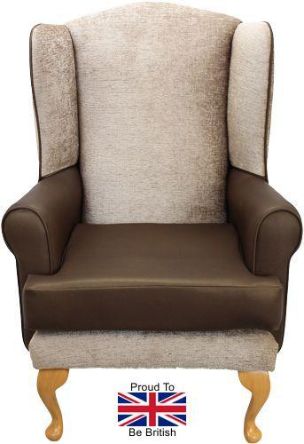Queen Anne Kensington With Brown Faux Leather Orthopedic Chair