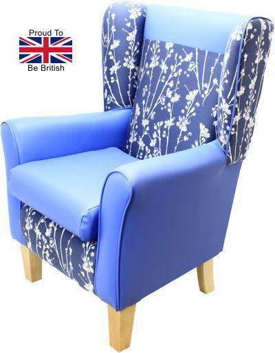 York Meadow Blue Orthopedic High Back Chair