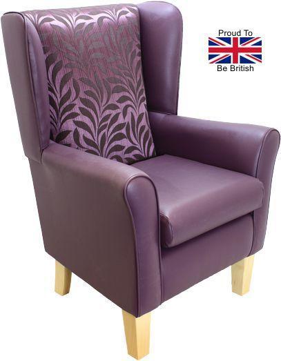 York High Back Orthopedic Wingback Chair - Purple Leaf