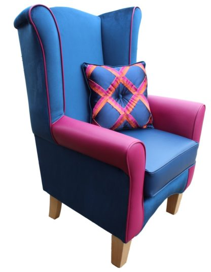 Pisa Blue Velvet Orthopedic Chair