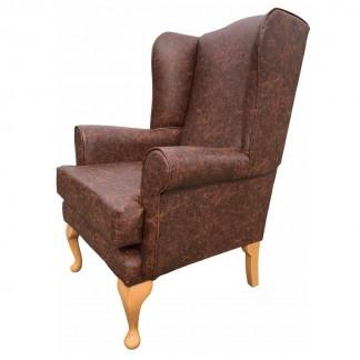 Antique Faux Leather Queen Anne Chair