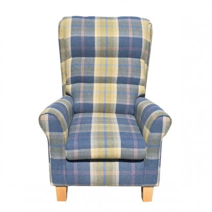 arndale wingback chair in chambray front view