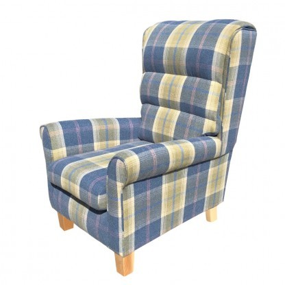 arndale wingback chair in chambray side view