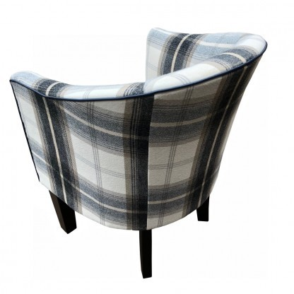 Tub Chair in Balmoral Charcoal back view