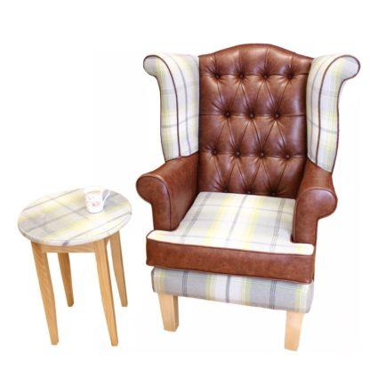edinbugh wingback chair with tartan
