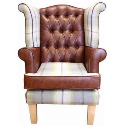 Edinburgh wingback chair with tartan front view