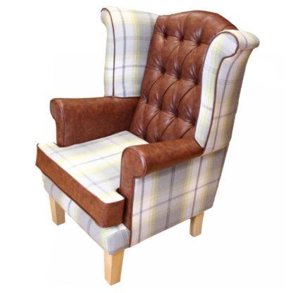 Edinburgh wingback chair with tartan side view