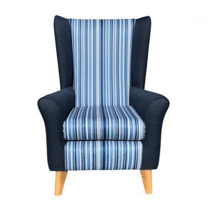 extra high back chair monza blue front view