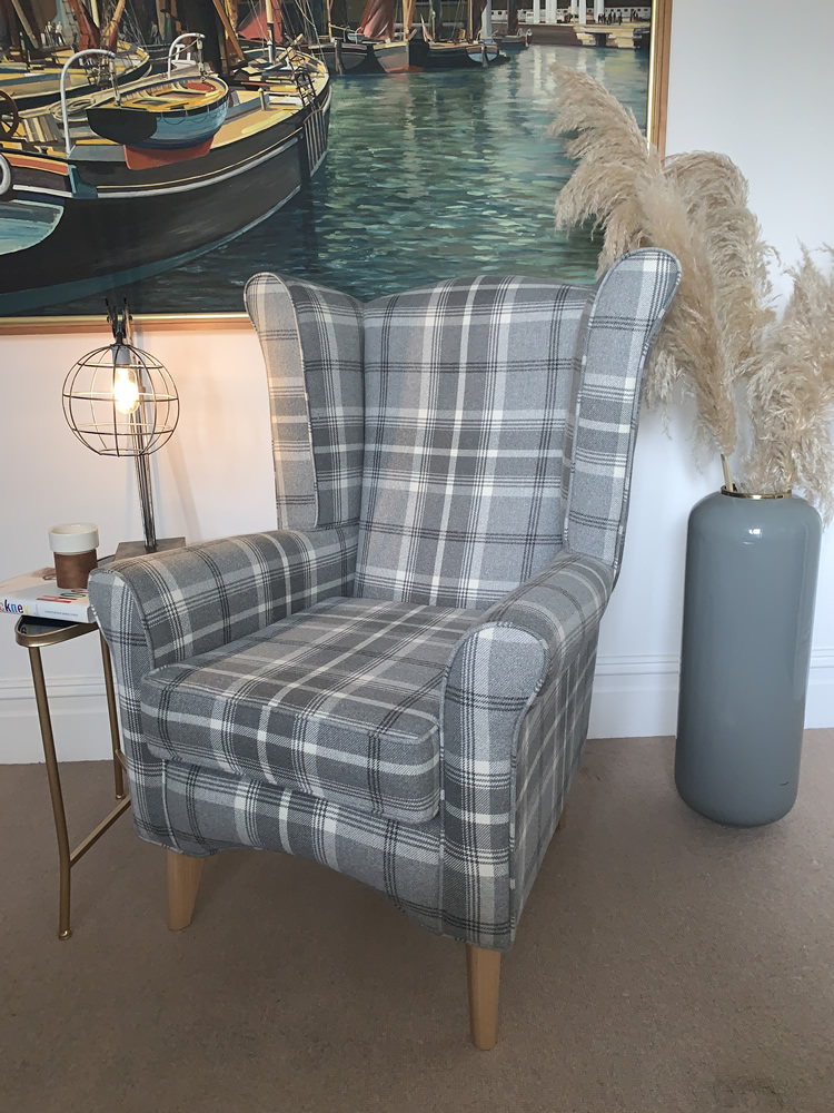 high seat chair in grey check