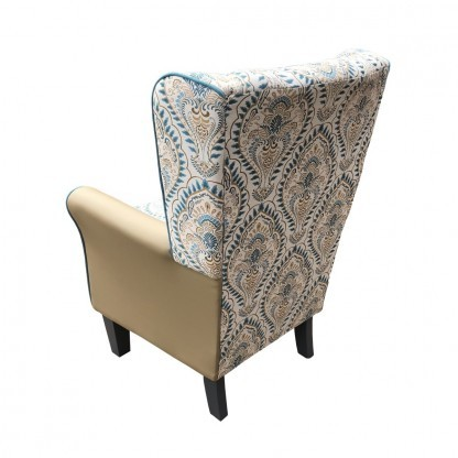 York Leo teal wingback chair back view