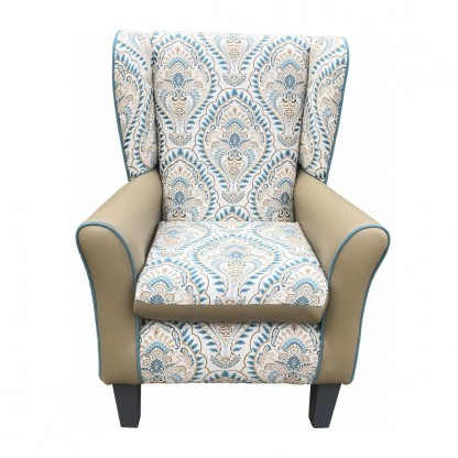 York Leo teal wingback chair front view