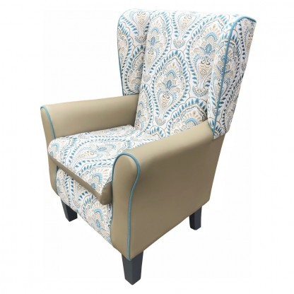 York Leo teal wingback chair side view