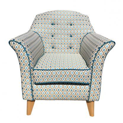 kensington chair in teal pattern front view