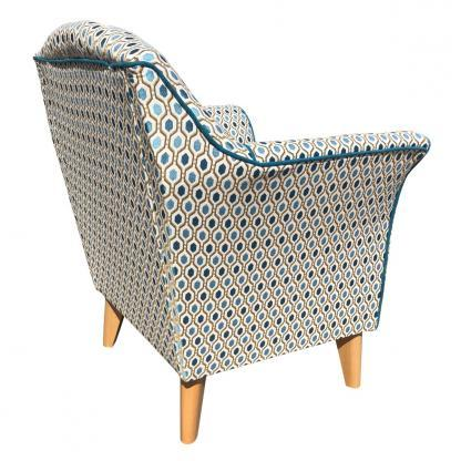kensington chair in teal pattern rear view