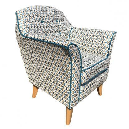 kensington chair in teal pattern side view