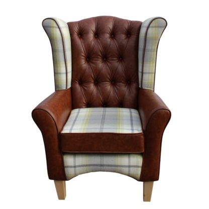 Pisa tartan with faux leather button back wingback