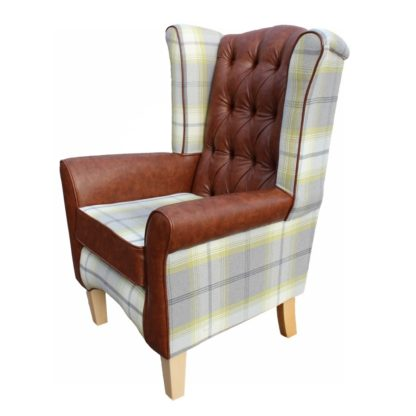 Pisa Wingback chair with tartan and faux leather side view