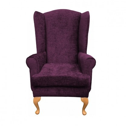 queen anne extra high back chair front view in aubergine