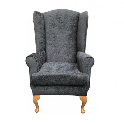 Queen Anne extra high back chair front view in charcoal
