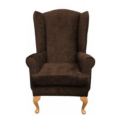 Queen Anne extra high back chair front view in chocolate