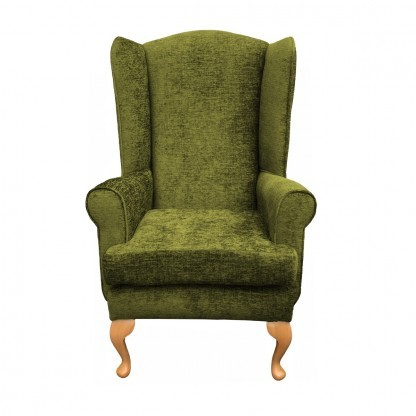 Queen Anne extra high back chair front view in leaf