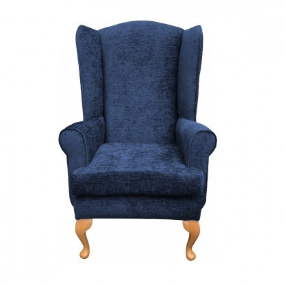Queen Anne extra high back chair front view in midnight