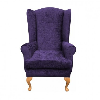 Queen Anne extra high back chair front view in purple