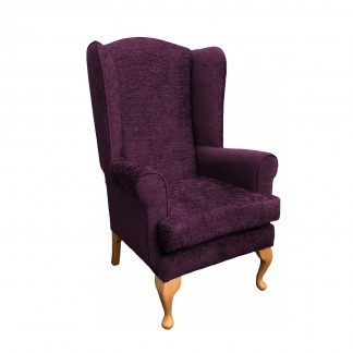 queen anne extra high back chair side view in aubergine