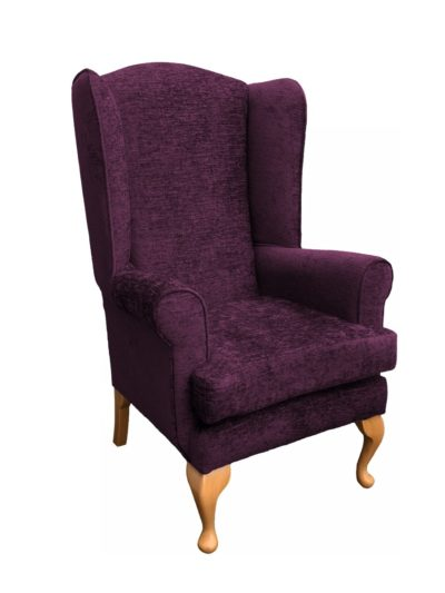 Alexander extra high back chair side view in aubergine