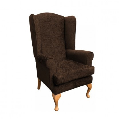 Queen Anne extra high back chair side view in chocolate