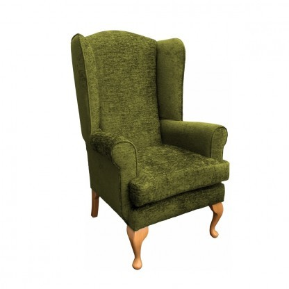 Queen Anne extra high back chair side view in leaf